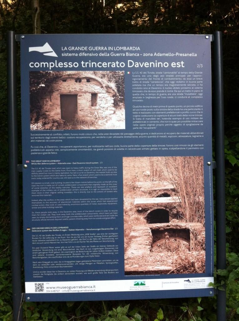 Complesso trincerato Davenino Est - Incudine Alta Val Camonica (settembre 2014)