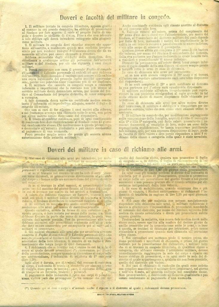 Foglio di Congedo di Cicchetti Giovanni pag. 4
